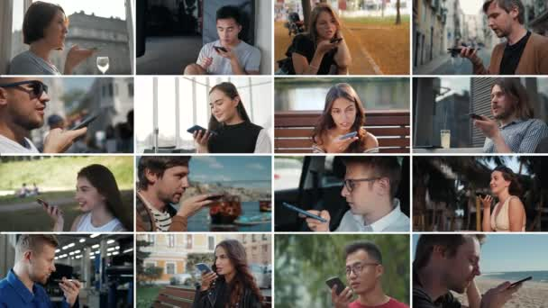 Több kamera kollázs az ember használja a Hangfelismerés AI audio üzenet a telefon, hang üzenet AI beszéd Helper, csoport diák férfi kültéri