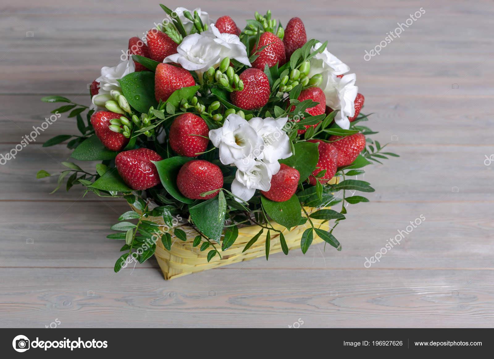 Bouquet Flowers Fruit Ripe Strawberry White Freesia Wooden Background Stock Photo C Yusev 196927626