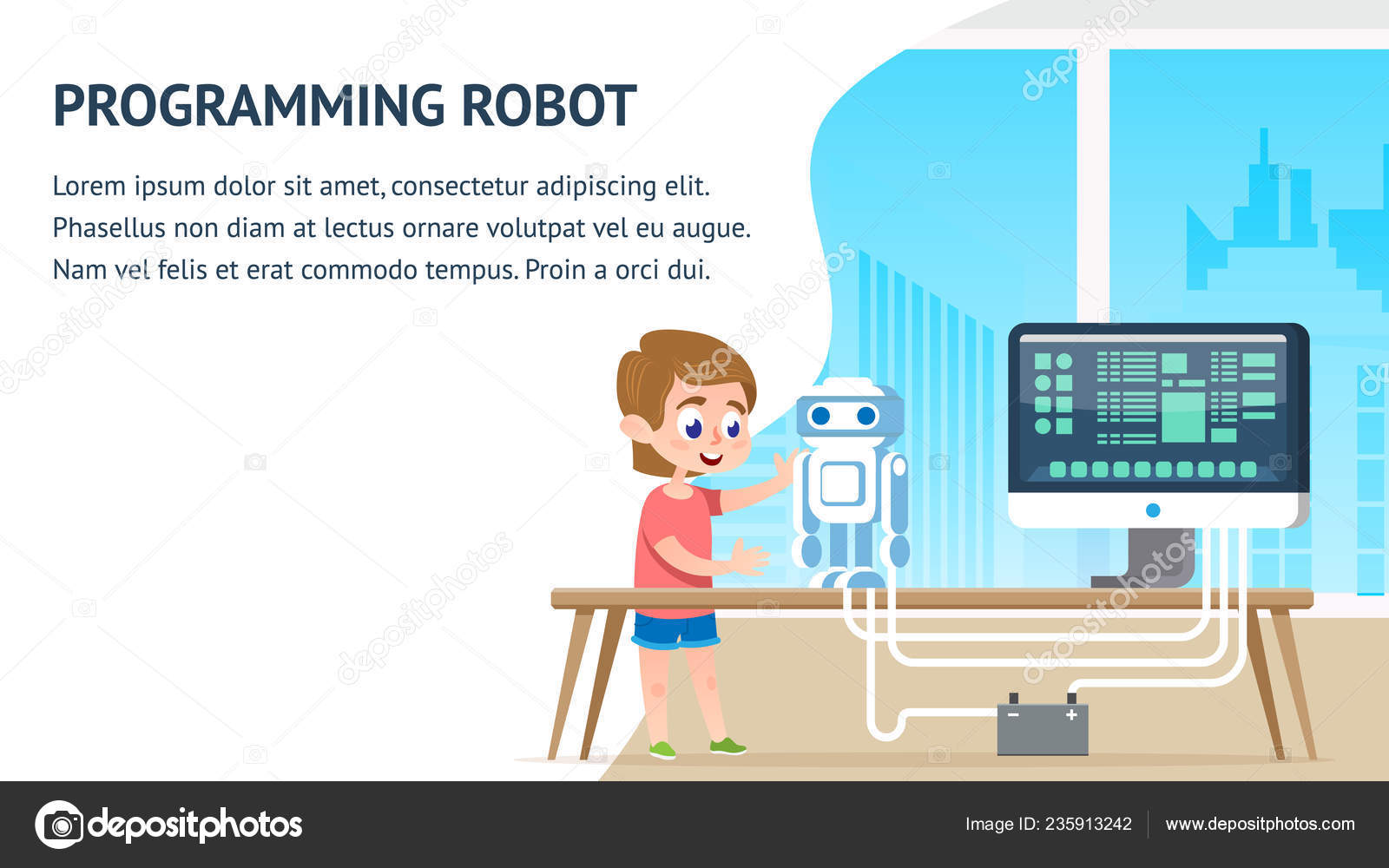 Programming Robot Education  Math Computer Science — Stock