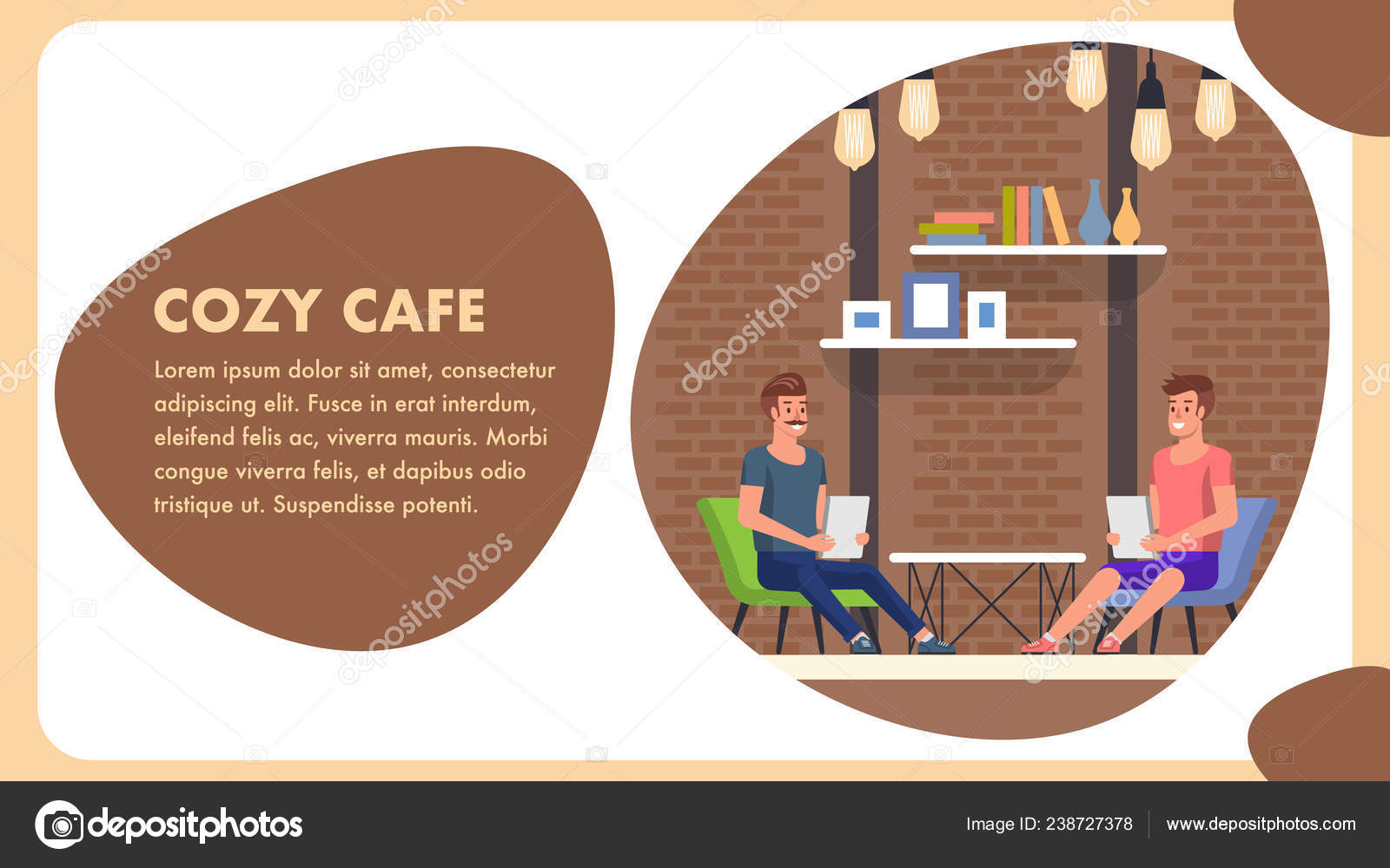 Cozy Cafe Cartoon Banner Trendy Comfort Decor Stock Vector C Pavelvinnik 238727378