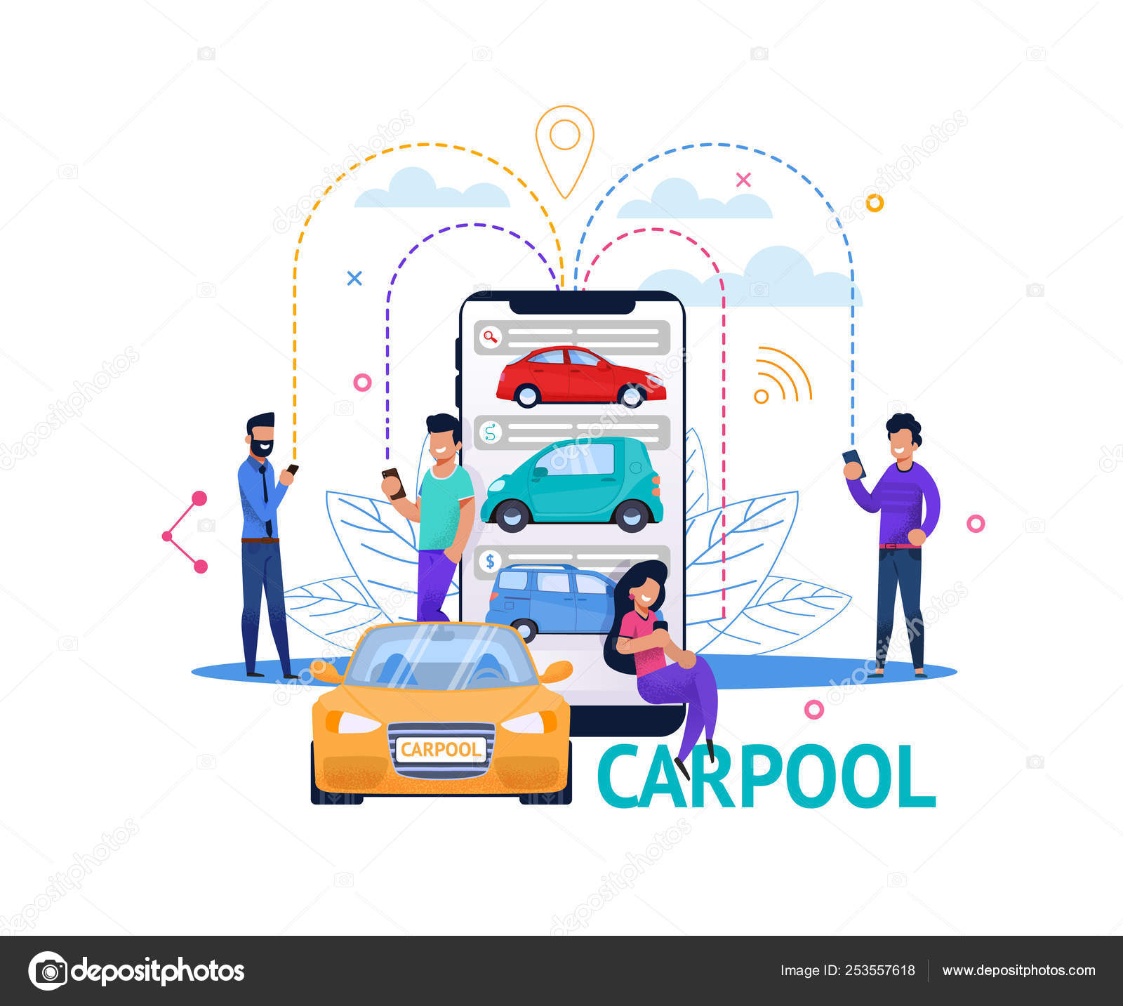 Carpool App Mobile Search Flat People Illustration — Stock