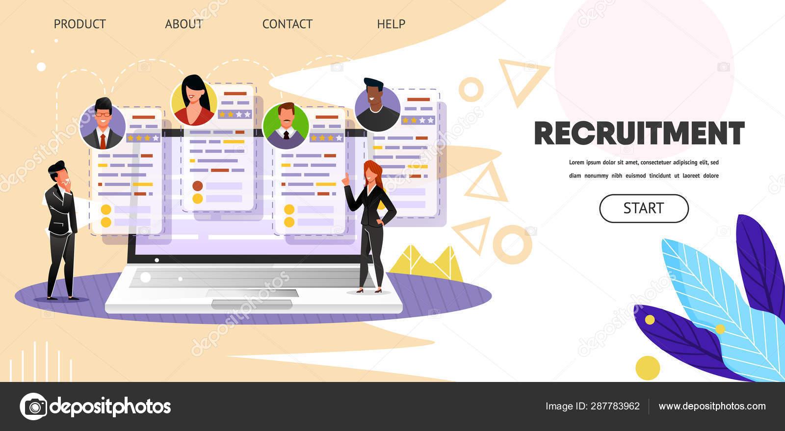 Online Job Search >> Recruitment Online Job Search Web Landing Page Stock