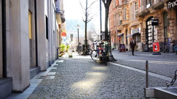 Belgian street from paving stones in the sunlight