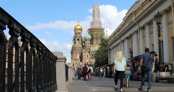 Alley with souvenir shops near the Church of the Savior on Blood