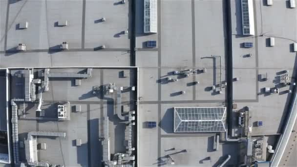 aerial survey of the roof of an industrial building with light tunnel structures