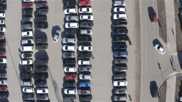 aerial survey of a large parking zone with parking places