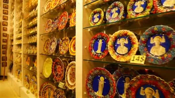 shop with souvenirs and icons depicting St. Nicholas the Wonderworker