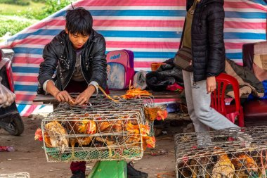 Dong Van, Vietnam - March 18, 2018: Chicken in hauls on sale at Dong Van sunday market