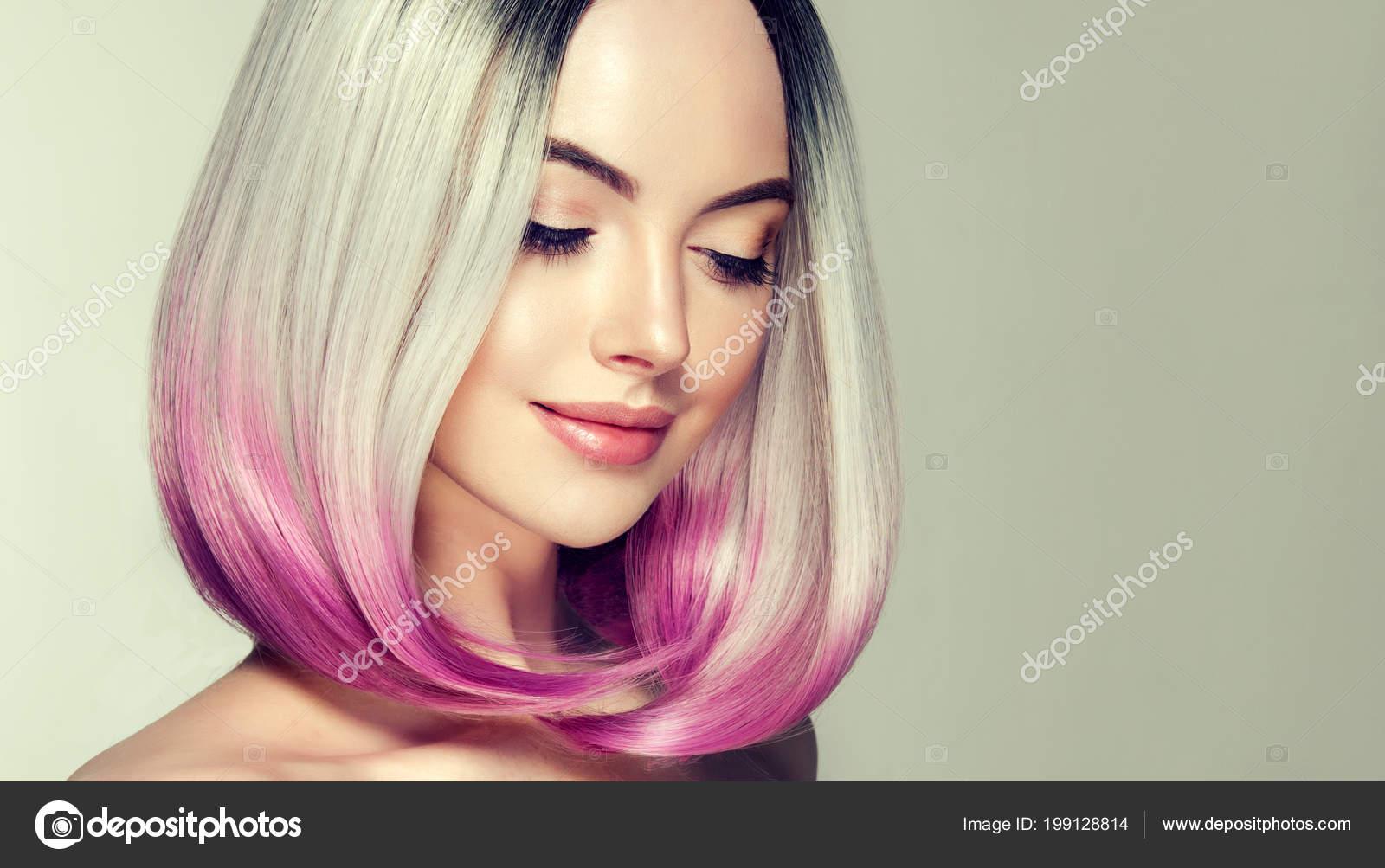 Güzel Saç Boyama Kadın Moda Trendy Saç Kesimi Ombre Bob Stok Foto