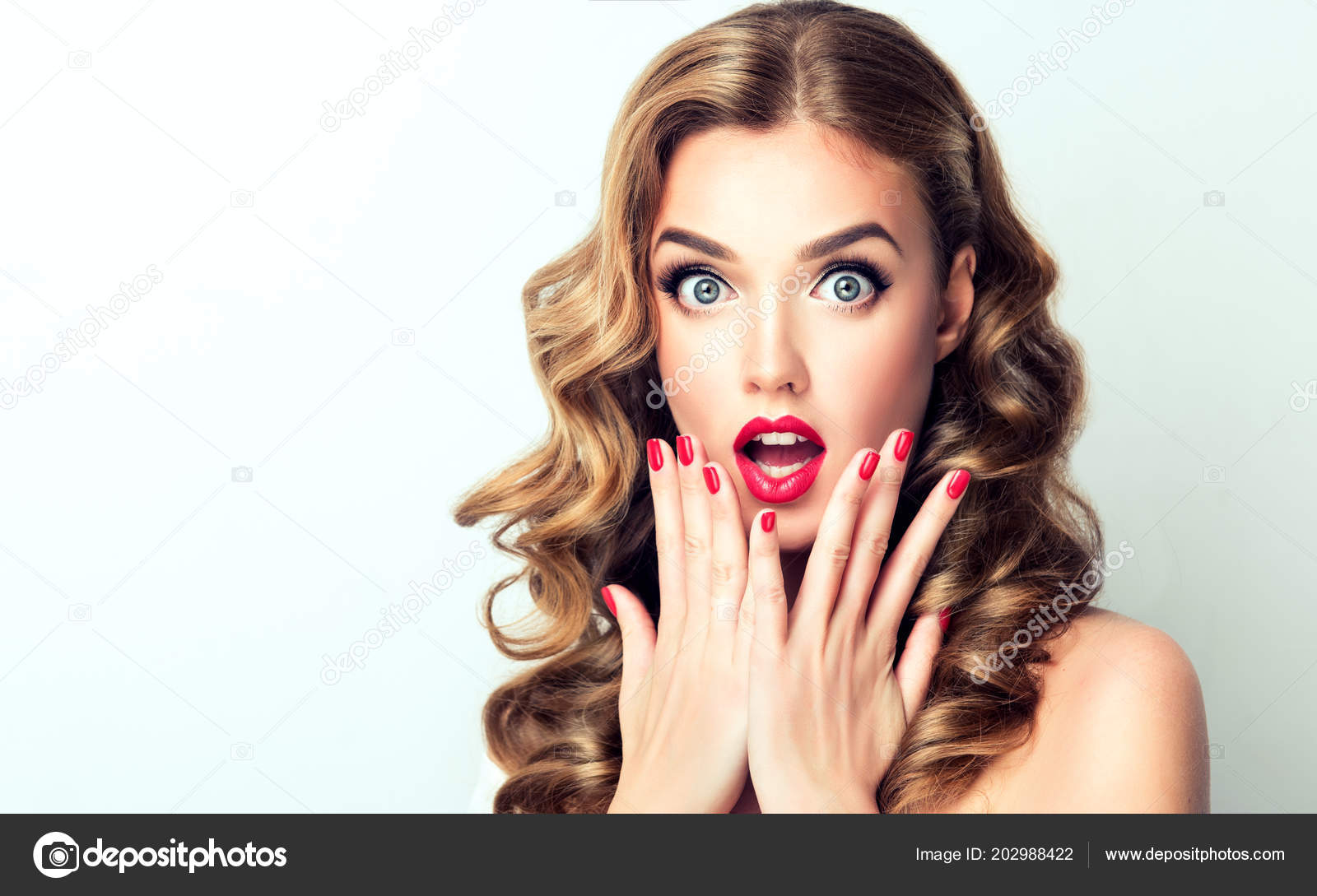 Woman Surprise Showing Product Beautiful Girl Curly Hair Pointing