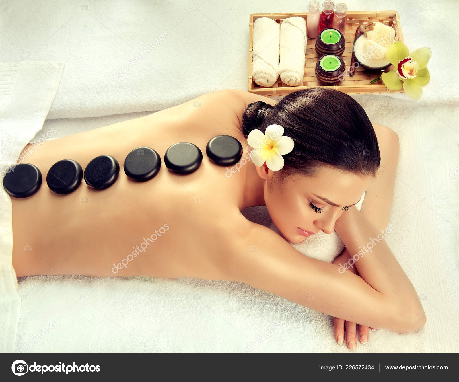 Photos Relaxation Spa Beautiful Woman Relaxing Spa Salon Hot Stones Body Massage Stock Photo C Sofia Zhuravets 226572434