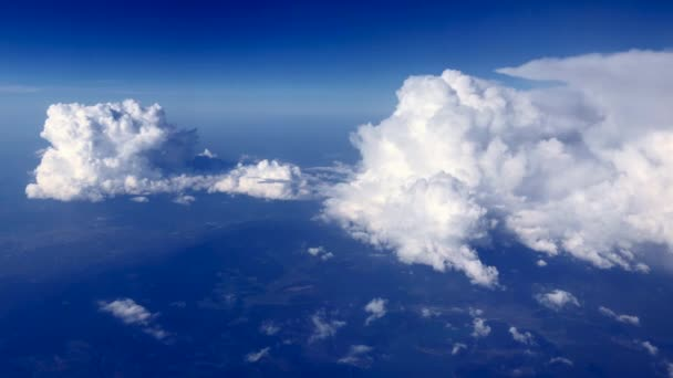 View from space beautiful blue sky with clouds background.