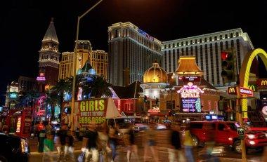 Las Vegas, Nevada - May 27, 2018 : Casino Royale and Venetian Resort Hotel Casino, South Las Vegas Boulevard at night