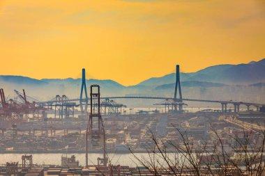 Busan Harbor Bay Bridge at sunset