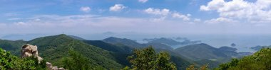 Beautiful landscape of Hallyeohaesang National Park view from Geumsan Mountain, Namhae County