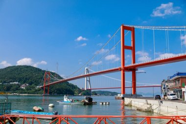 Namhae, South Korea - July 29, 2018 : Namhae Bridge, Suspension bridge in Namhae County, South Gyeongsang Province, Korea