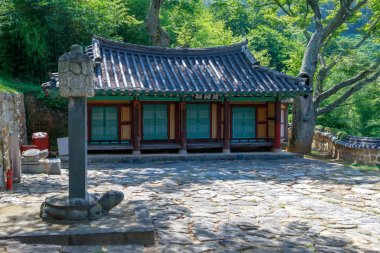 Namhae, South Korea - July 29, 2018 : Chungnyeolsa shrine in Namhae County, South Gyeongsang Province