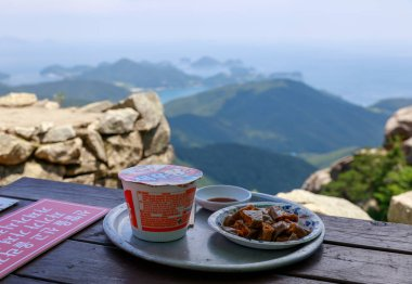 Namhae, South Korea - July 29, 2018 : Mountain food at Geumsan mountain villa near Boriam temple in Namhae County