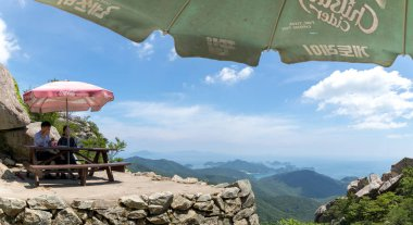 Namhae, South Korea - July 29, 2018 : Geumsan mountain villa scene near Boriam temple in Geumsan Mountain, Namhae County