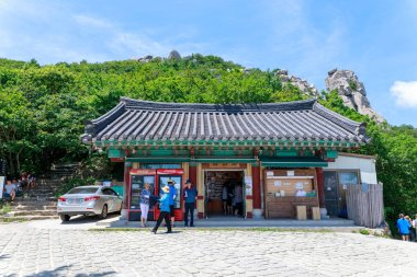Namhae, South Korea - July 29, 2018 : Boriam Buddhist temple scene in Geumsan Mountain, Namhae County