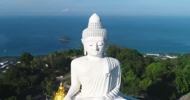 White Marble Big Buddha Statue Temple. Dolly Zoom Aerial View. Phuket