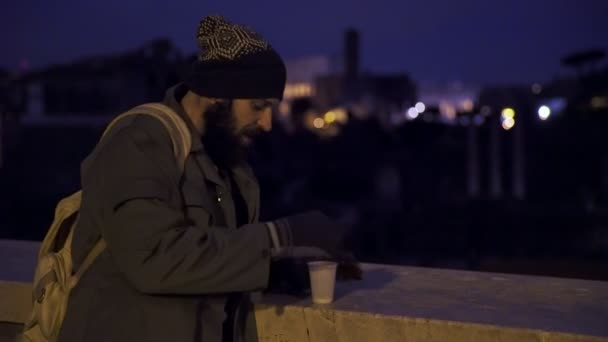 misery, begging, money-homeless counting his money in the night