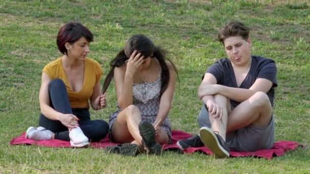 přátelství, mládež, pohodlí - tři přátelé sedí na trávníku chat