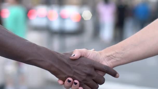 Černá a bílá žena ruce třást spolupráce, interraccial, přátelství