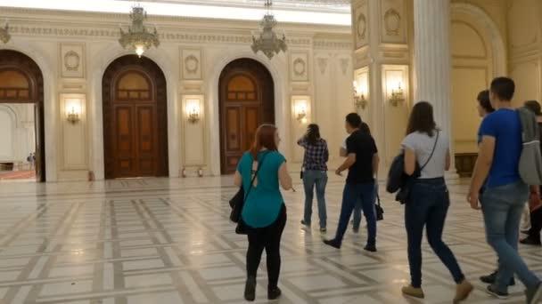 Tourist walking inside the Romanian Parliament.May 2018,Bucharest,Romania