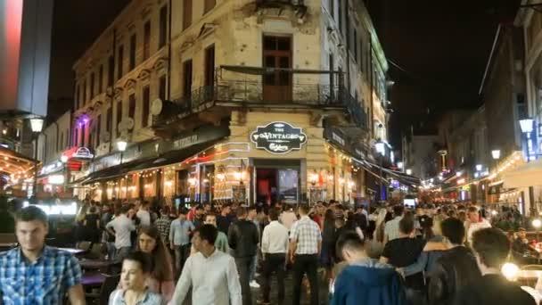 Crowd of people enjoiyng night life in Bucharest. july 2018, Bucharest, Romania