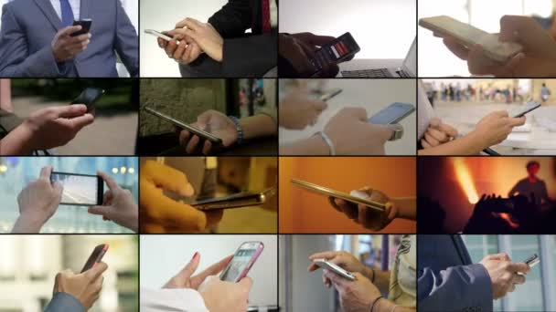 Composition on hand using smartphone. Modernity,communication,people