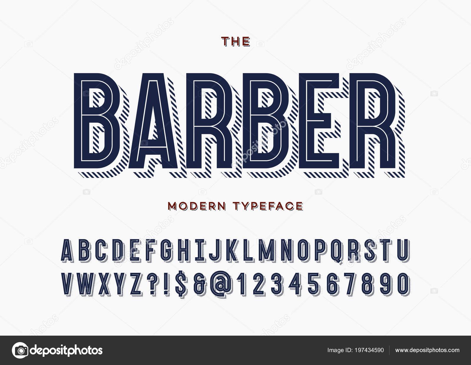 Fonte de barbeiro  Tipografia de alfabeto moderno tipo de letra sans