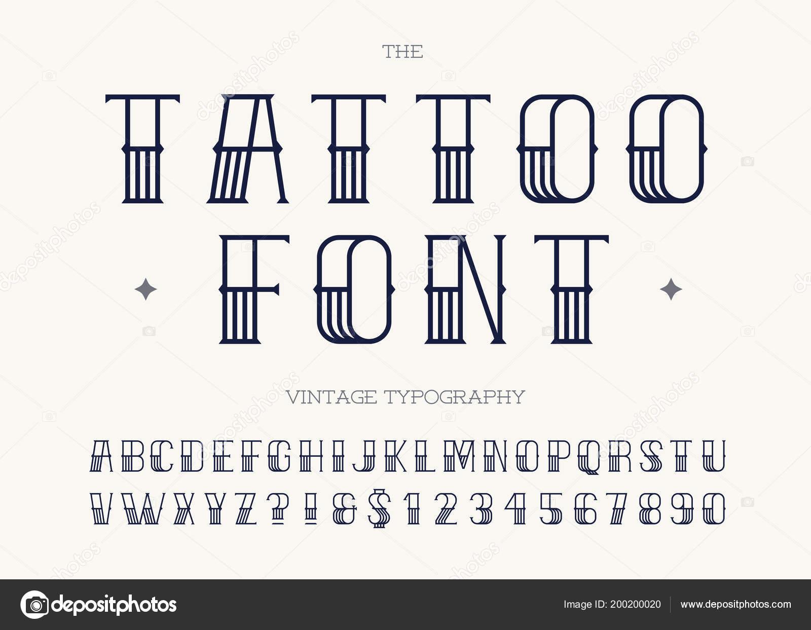 Tatuaż Czarny Kolor Retro Czcionki Sans Serif Stylu Dla