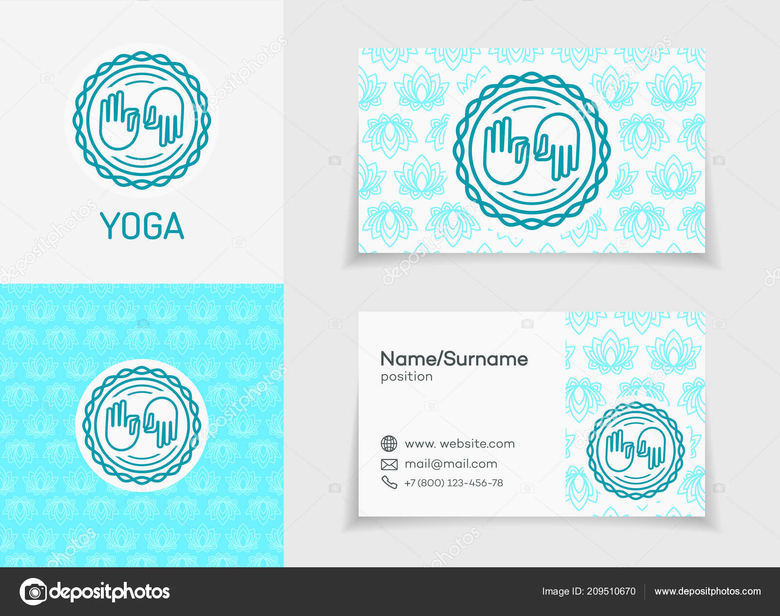 Vector Yoga Logo Template Set Business Card Pattern Fitness