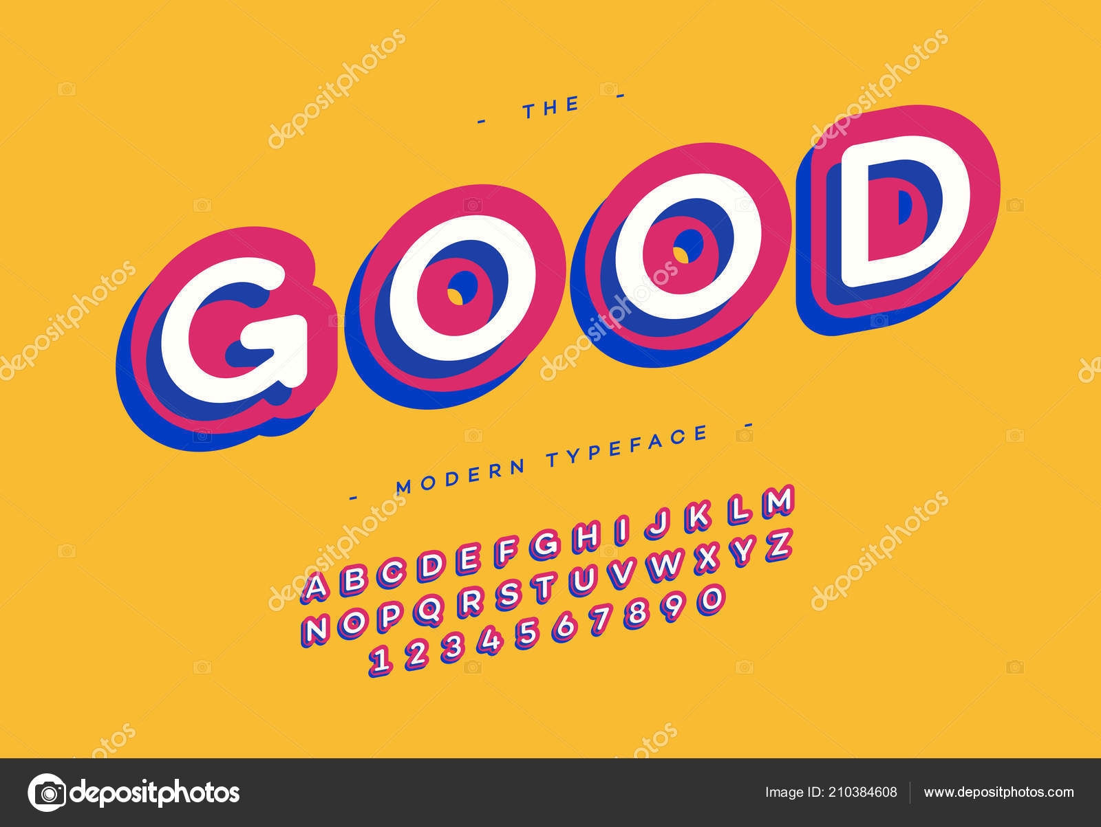 Vector Good Typeface 3d Bold Typography Colorful Style For Poster Decoration Promotion Book T Shirt Sale Banner Printing On Fabric Cool Modern