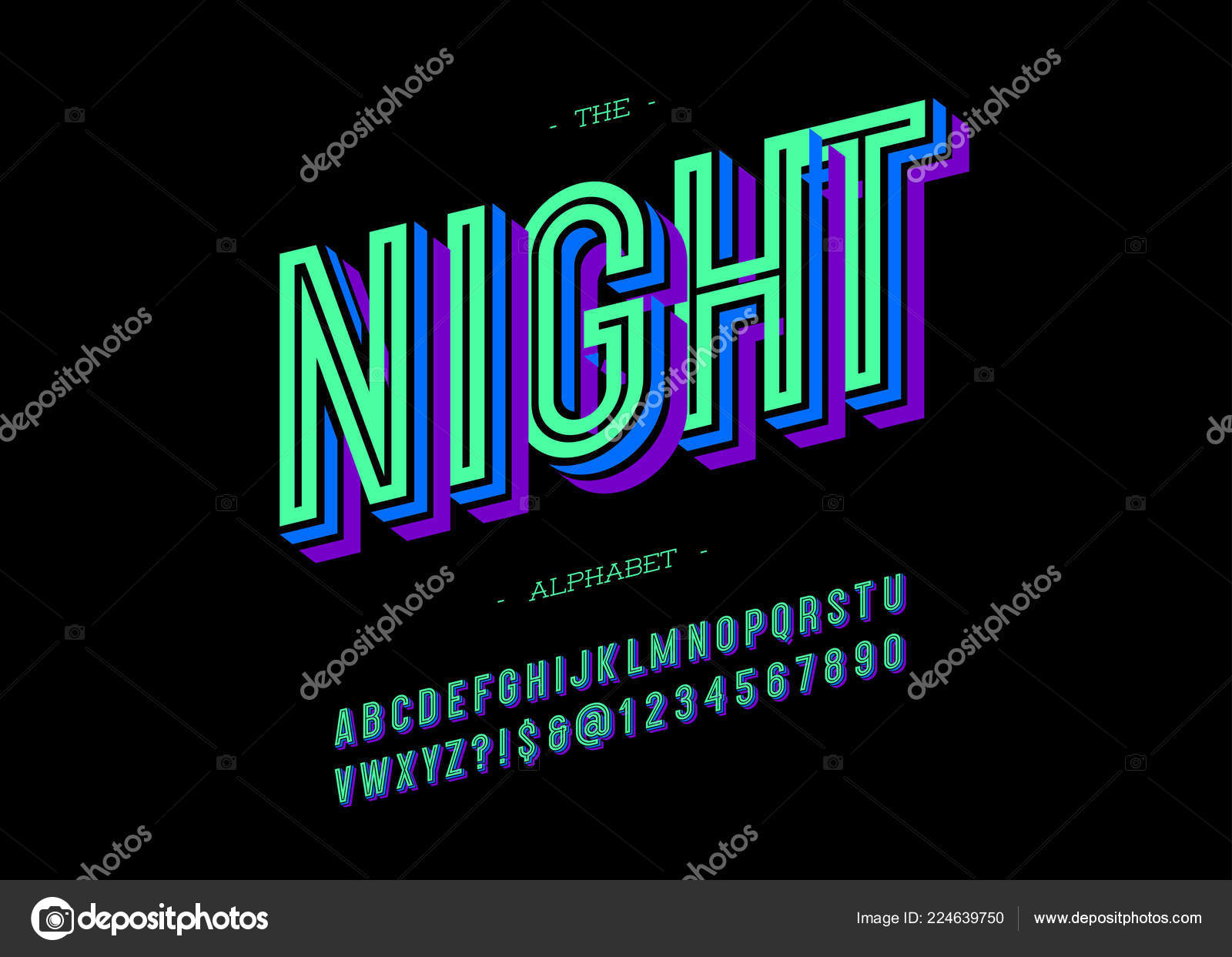 Tv show logo fonts | Vector bold night font trendy