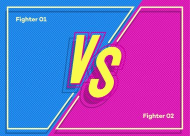 Versus banner with vs sign and frame on modern cyan pink color background