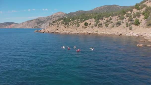 aerial tourists on kayaks sail on sea against rocky coast