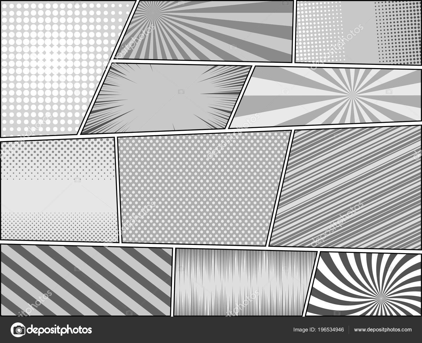 Comic Buch Seite Monochrome Hintergründe Mit Radial Punktiert Schrägen  Linien Und Strahlen Effekte In Grauen Farben. Vektor Illustration U2014 Vektor  Von ...