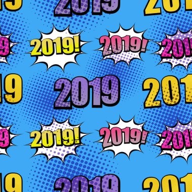 Comic 2019 wordings seamless pattern