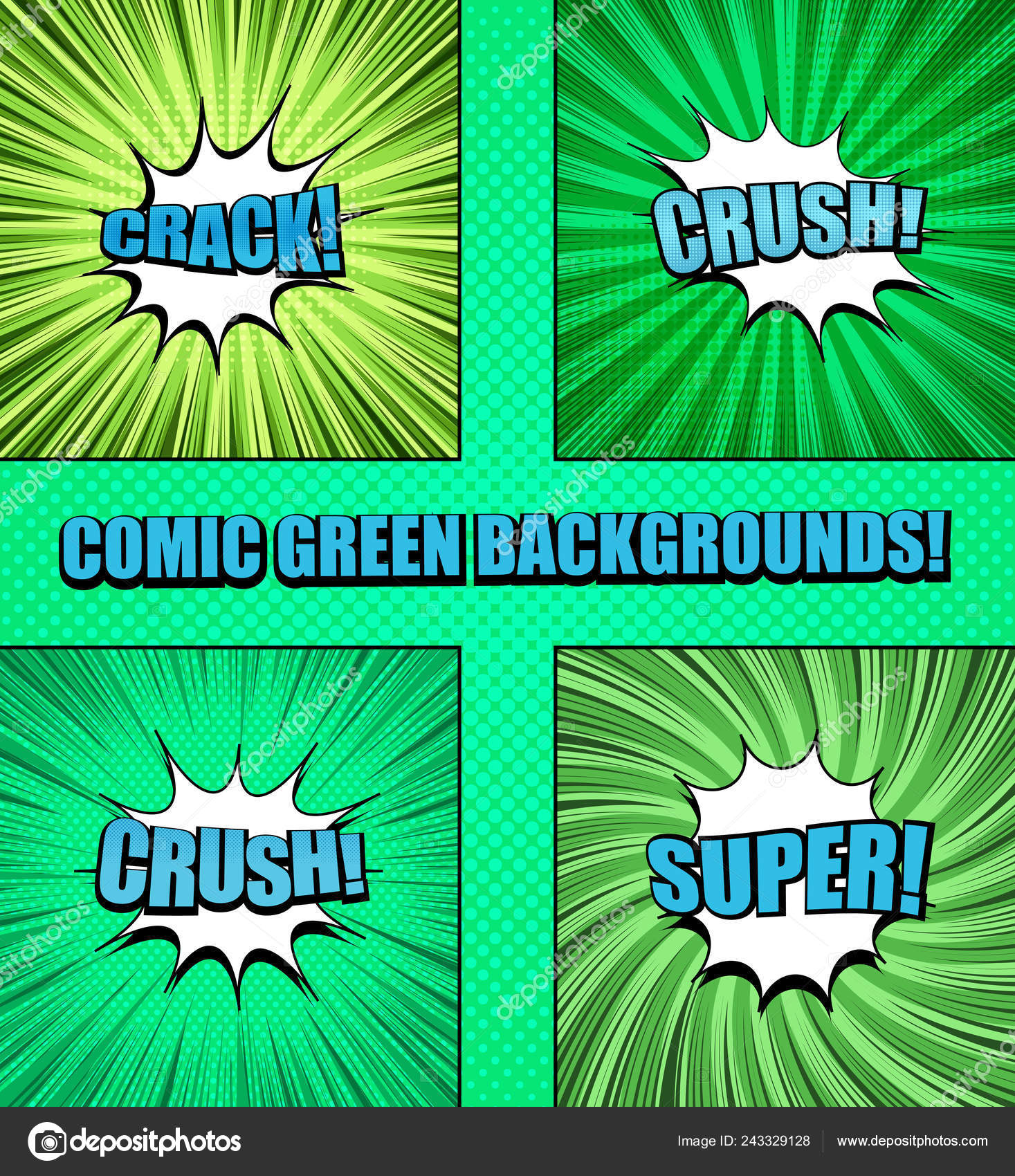Comic green backgrounds collection — Stock Vector