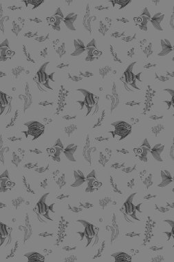 pattern with the image of aquarium fish, corals and algae on a colored background