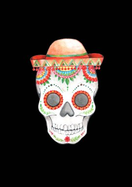 painted skull pattern in Mexican style in sombrero