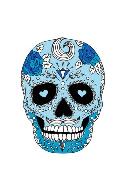 painted skull pattern in Mexican style