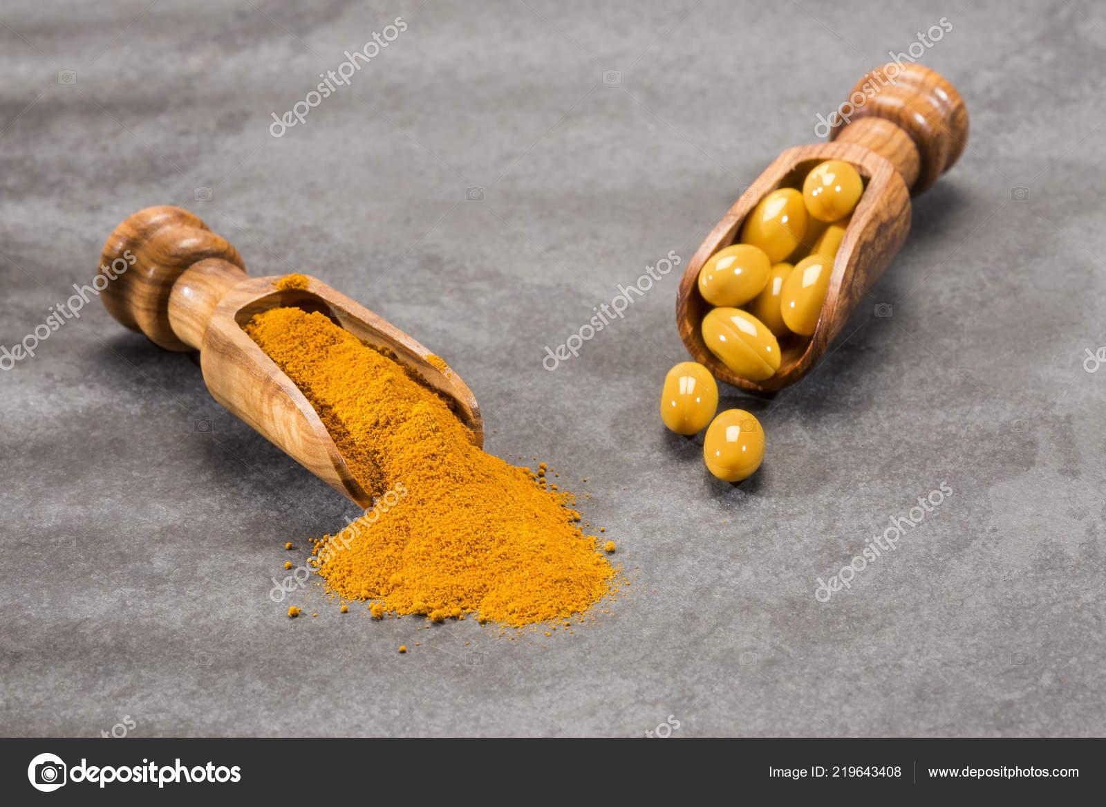 Turmeric Powder Pills Curcuma Longa Space Text — Stock Photo