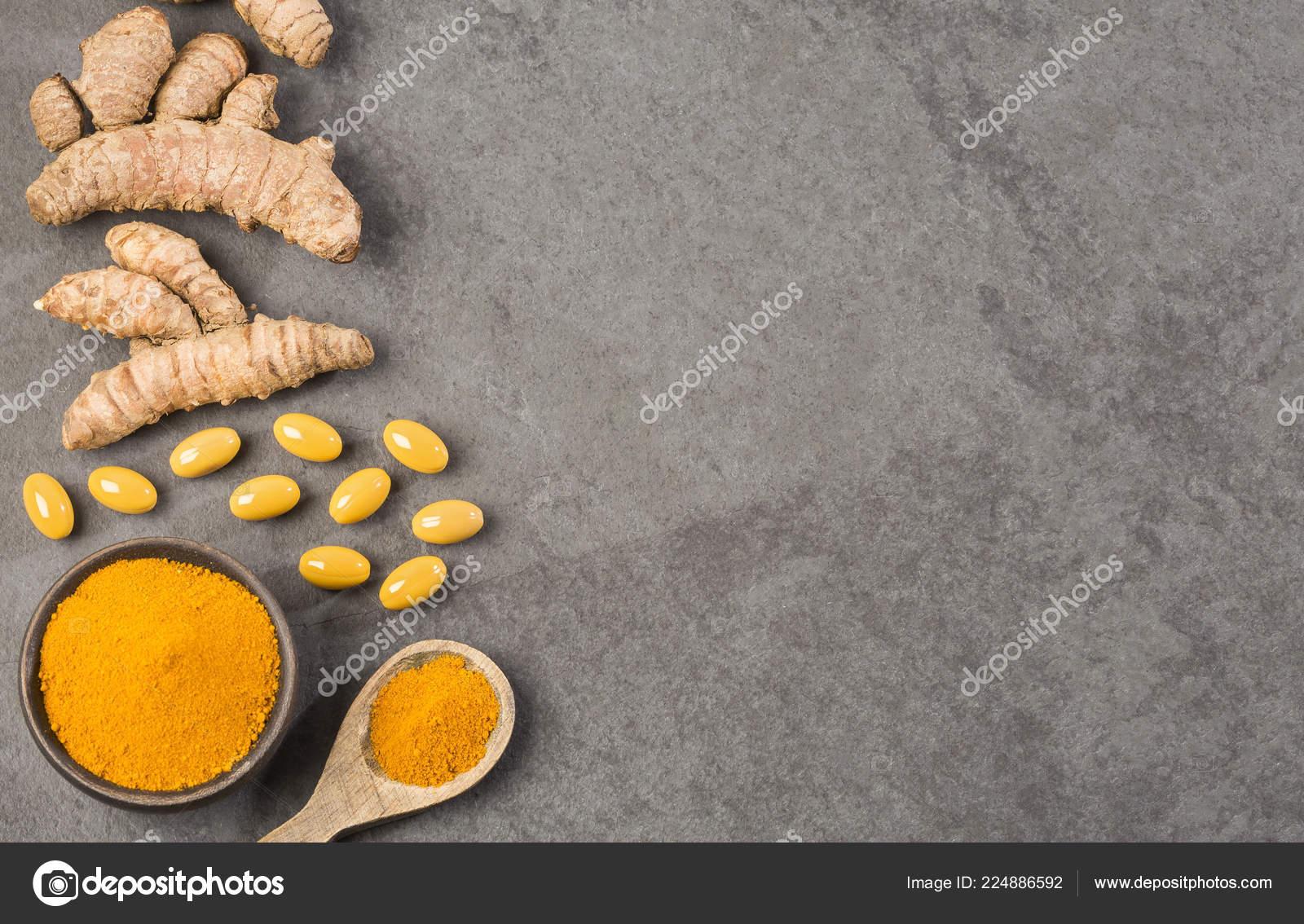 Roots Powder Turmeric Pills Curcuma Longa Text Space — Stock