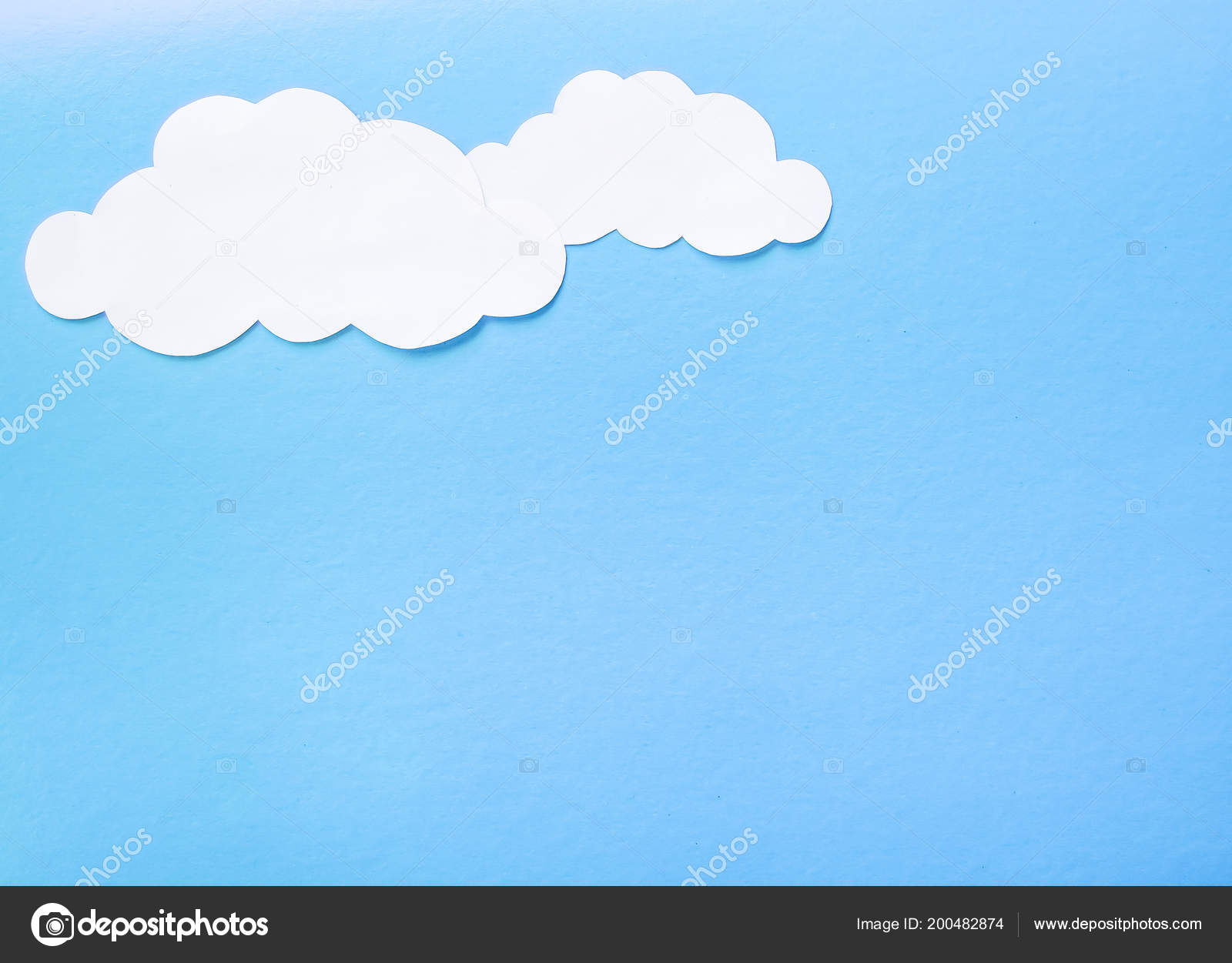 Beautiful Air Paper Clouds Blue Background Stock Photo
