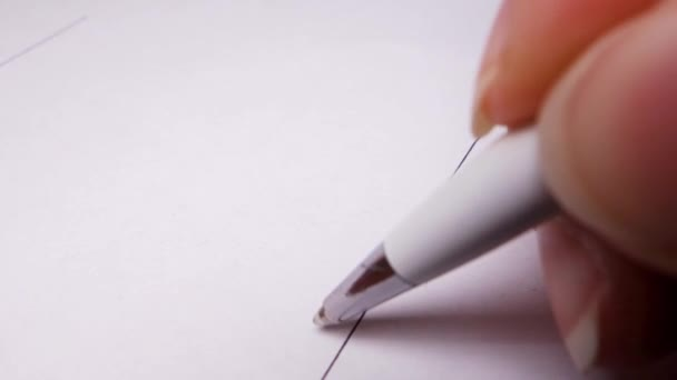 Person Signing Important Document. Macro Close-up Shot. Close-up pen signing document.