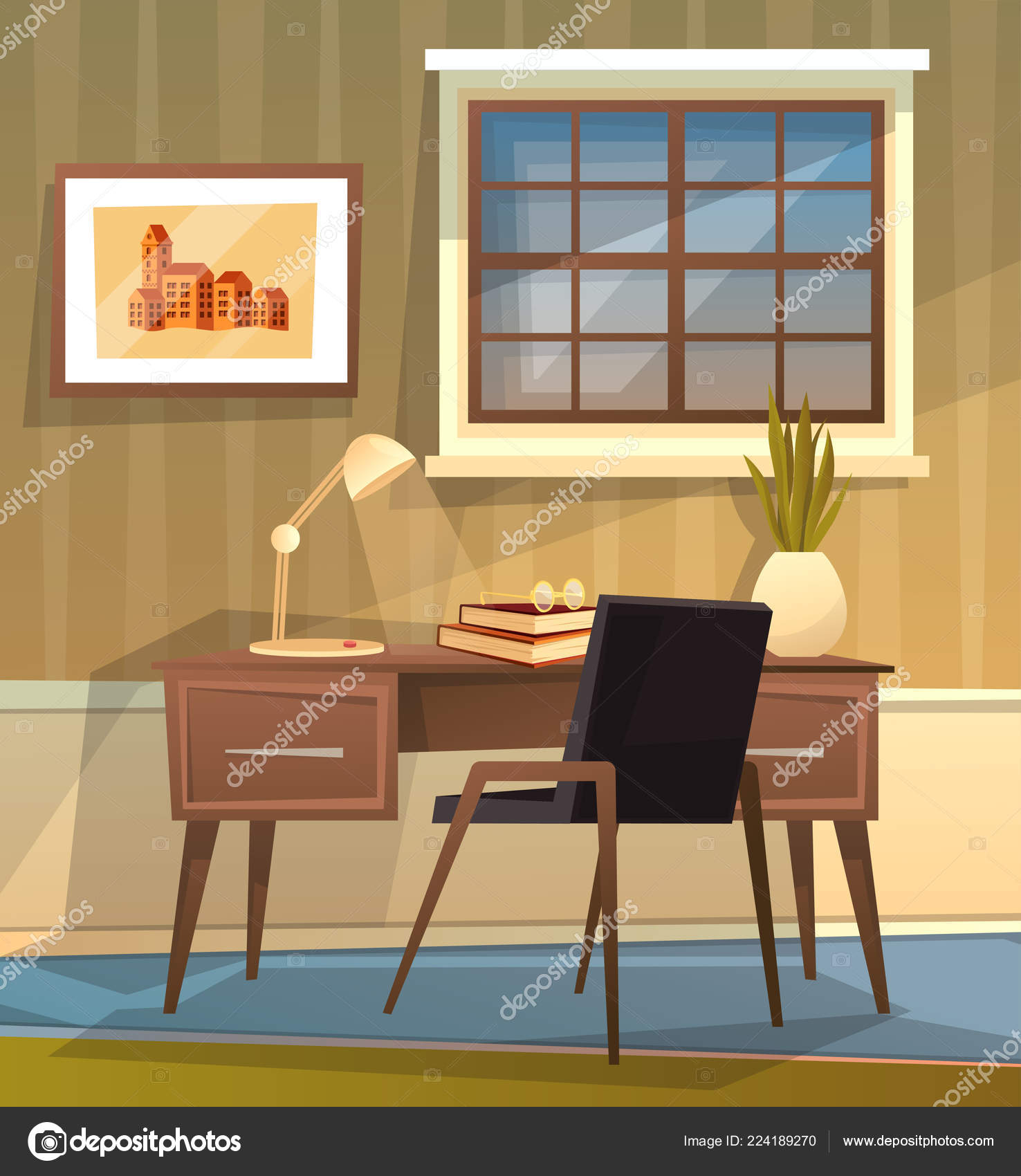 Brilliant Cute Cozy Home Office Workplace Vector Cartoon Illustration Interior Design Ideas Gresisoteloinfo