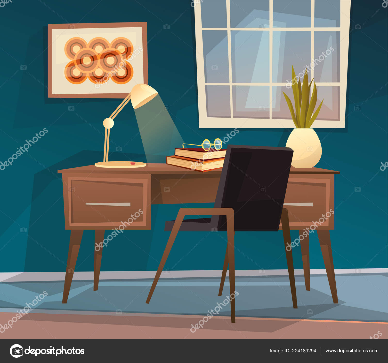 Surprising Cute Cozy Home Office Workplace Vector Cartoon Illustration Interior Design Ideas Gresisoteloinfo